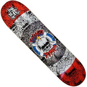 Shape Long Board Pro Model Thiago Bomba Caveira Vermelha