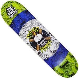 Shape Long Board Pro Model Thiago Bomba Caveira Verde e Roxo
