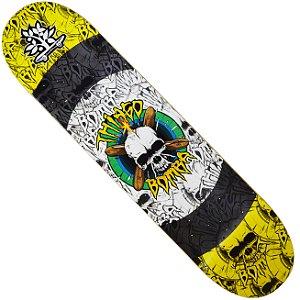 Shape Long Board Pro Model Thiago Bomba Caveira Amarelo e Cinza