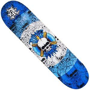 Shape Longboard Pro Model Thiago Bomba Caveira Azul