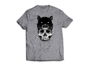 Camiseta Wood Light Caveira Lobo Mescla