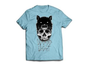 Camiseta Wood Light Caveira Lobo Azul