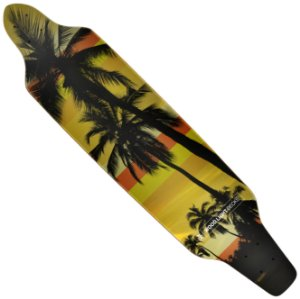 Shape Wood Light Longboard Assimétrico Palm Tress Yellow Stripes