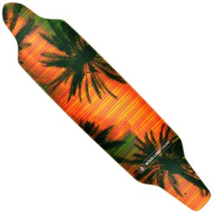 Shape Wood Light Longboard Assimétrico Palm Tress Orange Sky