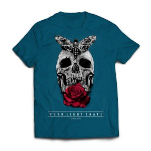 Camiseta Wood Light  Skull Flower Azul Petroleo