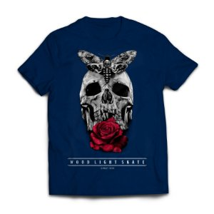Camiseta Wood Light Skull Flower Azul Marinho