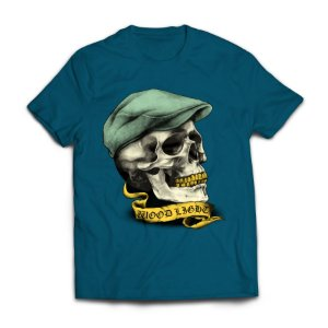 Camiseta Wood Light Skull Hat Azul Petróleo