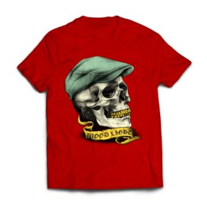 Camiseta Wood Light Skull Hat Vermelha