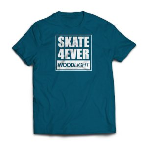 Camiseta Wood Light Skate 4ever Azul Petróleo