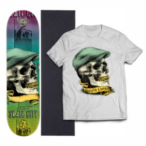 Kit Shape De Skate Wood Light Eight + Lixa + Camiseta - Skull Hat