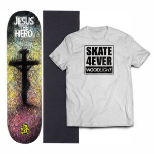 Kit Shape De Skate Wood Light Eight + Lixa + Camiseta - The Hero