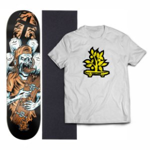 Kit Shape De Skate Wood Light Fiber Glass + Lixa + Camiseta - Zombie