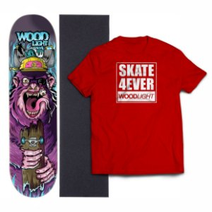 Kit Shape De Skate Wood Light Fiber Glass + Lixa + Camiseta - Monkey