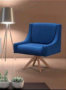 Poltrona Decorativa Giratória Azul Classic