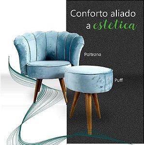 Conjunto Poltrona Pétala + puff