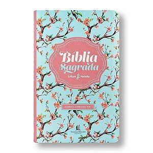 BÍBLIA ACF LEITURA PERFEITA LUXO LETRA NORMAL CAPA FEMININA FLORAL