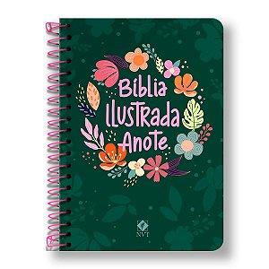 BÍBLIA NVT ANOTE ILUSTRADA ESPIRAL CORES E FLORES
