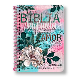 BÍBLIA NVI ANOTE - ESPIRAL CAPA FLOR ARTÍSTICA