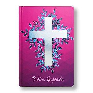 BÍBLIA NA63M CRUZ PRATA CAPA DURA ROSA