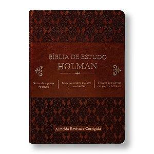 BÍBLIA ARCO85BEH DE ESTUDO HOLMAN CAPA LUXO MARROM