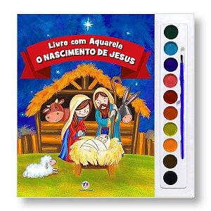 LIVRO COM AQUARELA: O NASCIMENTO DE JESUS