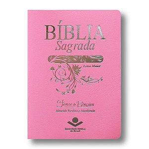 BÍBLIA RA045LMFB ROSA LETRA MAIOR FONTE DE BÊNÇÃOS BEIRAS PINTADAS