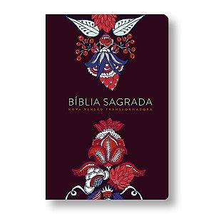 BÍBLIA NVT LG ST - LETRA GRANDE - INDIAN FLOWERS - VINHO