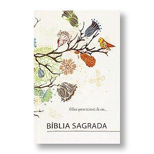 BÍBLIA ARC63M PÁSSARO CAPA DURA ILUSTRADA BEIRA LARANJA