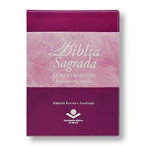 BÍBLIA RA085TIL LETRA EXTRAGIGANTE ÍNDICE - CAPA ROSA/VINHO