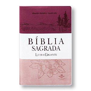 BÍBLIA RA065LGI LETRA GIGANTE ROSA/PINK/BRANCA COM ÍNDICE