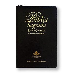 BÍBLIA RA064TILGIZ LETRA GIGANTE NOTAS E REFERÊNCIAS PRETA ZÍPER