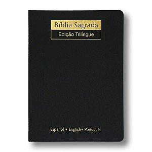 BÍBLIA NVI TRILÍNGUE EXTRA GIGANTE PRETA LUXO