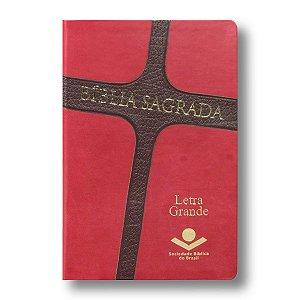 BÍBLIA RA065LG CRUZ LETRA GRANDE CAPA VERMELHO / MARROM