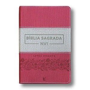 BÍBLIA NVI LETRA GIGANTE LUXO ROSA E CINZA
