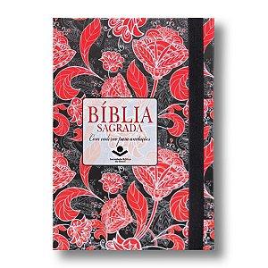 BÍBLIA RA043LMFB LETRA MAIOR FLORAL CAPA DURA ELÁSTICO / CADERNO ANOTAÇÕES