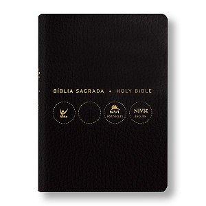 BÍBLIA NVI PORTUGUÊS - INGLÊS CAPA COVERTEX PRETA (COURO SINTETICO)