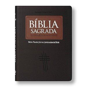 BÍBLIA NTLH085TILEXG LETRA EXTRAGIGANTE MARROM CLARO / ESCURO - ÍNDICE