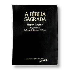 BÍBLIA ACF HIPER LEGÍVEL REFERÊNCIAS CAPA PU LUXO ÍNDICE PRETA