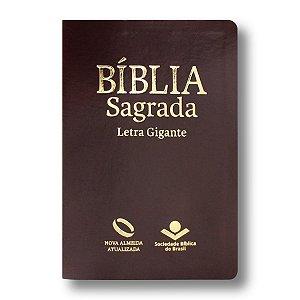 BÍBLIA NA065TILGI MARROM NOBRE LETRA GIGANTE ÍNDICE