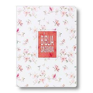 BÍBLIA NA85 SLIM ULTRAFINA CAPA FLORAL / BRANCA