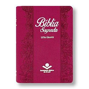 BÍBLIA NA065LG LETRA GRANDE CAPA SINTÉTICA PINK FLOR
