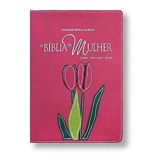BÍBLIA DA MULHER RA065BMRA2 GOIABA COM FLOR E BEIRAS FLORIDAS