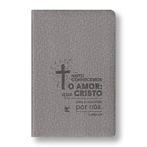 BÍBLIA AEC PU CINZA CRUZ