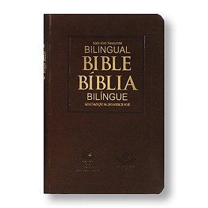 BÍBLIA NTLH GNT PORTUGUÊS INGLÊS MARROM NOBRE