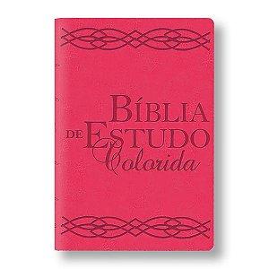 BÍBLIA DE ESTUDO COLORIDA ROSA