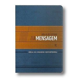 BÍBLIA DE ESTUDO A MENSAGEM CAPA LUXO AZUL E BEGE
