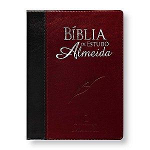 BÍBLIA DE ESTUDO ALMEIDA 085 CAPA PRETA / VINHO ALPHA
