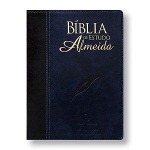 BÍBLIA DE ESTUDO ALMEIDA GIGANTE 085 CAPA PRETA / AZUL ESCURO NOBRE