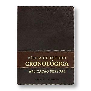 BÍBLIA CRONOLÓGICA DE APLICAÇÃO PESSOAL LUXO MARROM CLARO / ESCURO