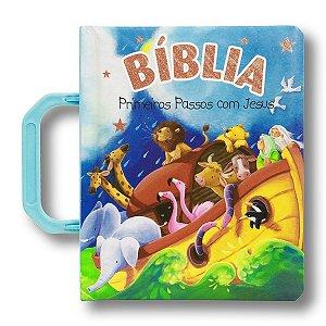 BÍBLIA PRIMEIROS PASSOS COM JESUS - COM ALÇA CAPA AZUL